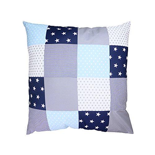 BEBILINO ® Baby Bettdeckenbezug 80x80 Blau Hellblau Grau (auch als Stubenwagen-, Kinderwagendecke, Dekokissen geeignet, Motiv: Sterne, Patchwork)
