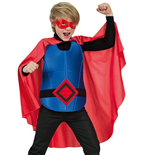 Super Hero Red 3tlg. SET 128/140 Kinderkostüm Cape/Umhang + Brustpanzer + Augenmaske Fasching Kleinkind Kinder - Kostüm