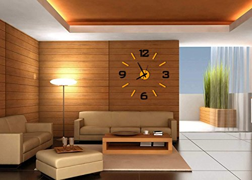 Time It Designer Self Adhesive Innovative DIY (Do It Yourself) Analog Wall Clock - (Orange - Black) - CLWC101OR1