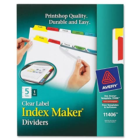 Index Maker White Dividers, Multicolor 5-Tab, Letter - Sold As