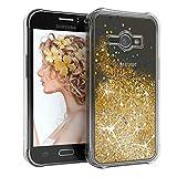 EAZY CASE Hülle für Samsung Galaxy J1 Ace Schutzhülle mit Flüssig-Glitzer, Handyhülle, Schutzhülle, Back Cover mit Glitter Flüssigkeit, aus TPU/Silikon, Transparent/Durchsichtig, Gold