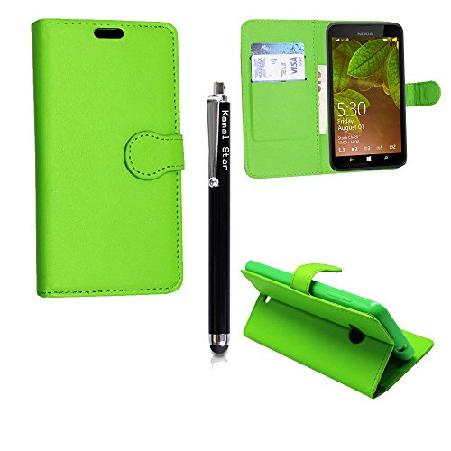 Microsoft Lumia 650 / 650 Dual Sim Hülle , Kamal Star® Kunstleder Tasche PU Schutzhülle Tasche Leder Brieftasche Hülle Case Cover + Gratis Universal Eingabestift (Plain Green Book)