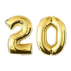 Idea Regalo - NUOLUX Numero palloncini,52 pollici numero 20 palloncino d'oro per la festa di compleanno