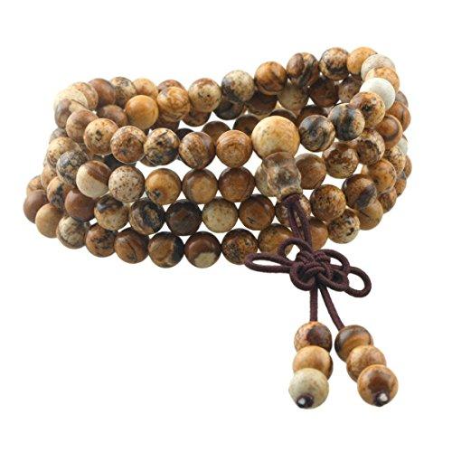 Edelstein Yoga Armband Schmuck Buddha Buddhistische Tibetische Gebetskette Mala Kette Halskette,Picture Japsis ()