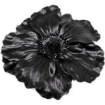Glamour Girlz Fascinator Haarklemme mit Stoffblume, Mohnblumendesign, 13 cm, Schwarz
