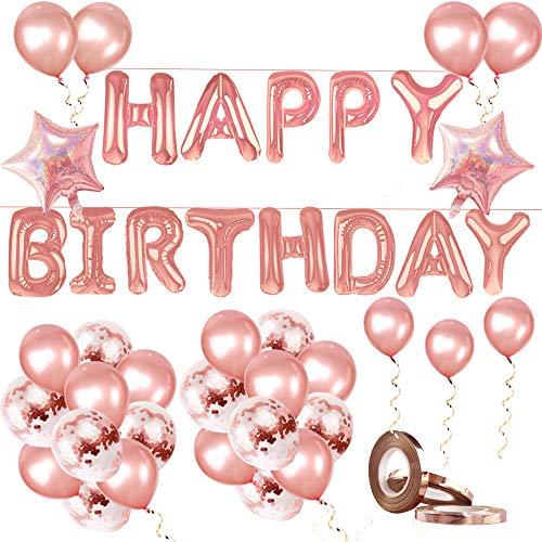 Lanero Happy Birthday Banner Konfetti Luftballons für 1. Geburtstag Dekorationen bis 18. Geburtstag Dekorationen Rose Gold Latex Luftballons Set für Mädchen / Jungen Geburtstag Folienballons (Bis Aus Luftballons)