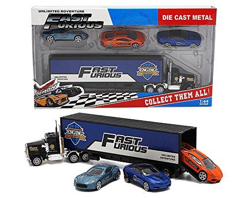 DSstyles Set von 4 Spielzeugauto Modell Bundle Set mit einem LKW und 3 Autos - Set D, ideal Geburtstagsgeschenk für Kinder Kinder