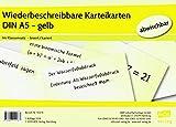 Wiederbeschreibbare Karteikarten DIN A5 - gelb: Im Klassensatz - liniert/kariert