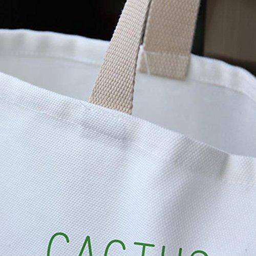 Frauen-Segeltuch-Tote Grüne Einkaufstasche DIY Handtasche Große Kapazitäts-Dame-Schulter-Beutel CactusA