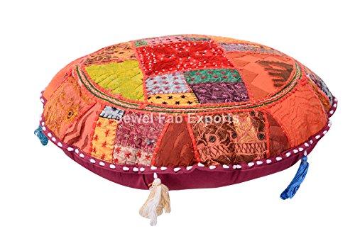 Vintage Banjara Multi Farbe Ethnic handgefertigt Bodenkissen Boho sortiert Patchwork Kissen Sham Gypsy Spiegel Arbeit bestickt rund Euro Sham Boho Überwurf (Stoff Sham)
