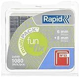 Rapid, 40108716, Agrafes en fil fin N°53, Longueur 6-8mm, 1080 pièces, Pour le textile et la décoration, Galvanisé, Haute performance