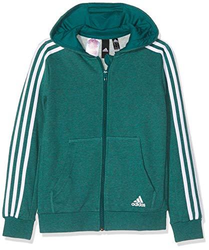 adidas Jungen 3 Stripes Full Zip Hood Kapuzen-Jacke, Melange/Noble Green/White, 116 French Terry Full Zip Hood