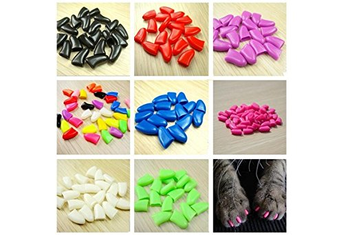 New 20Pcs/Lot Colorful Soft Pet Dog Cats Kitten Paw Claws Control Nail Caps Cover #apowu522# (color: Pink,size: S) Cat Claw Caps Pink