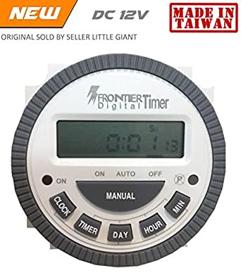 Frontier Digital Timer programmable 12 Volt DC Controller TM-619 - Replaceable battery - Made in Taiwan - Free Insulated connecting thimbles