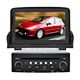 Koolertron Coche DVD de navegación con pantalla de 7 pulgadas táctil digital y iPod BT RDS CAN-BUS para Peugeot 307