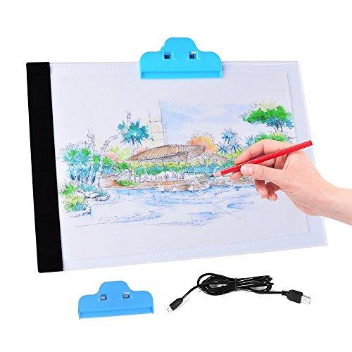 A4 LED Leuchtkasten Leuchtplatte zum Zeichnen – Tragbare und Ultra dunner LED Handwerk Tracing Animations Tattoo Leuchttisch mit USB Kabel
