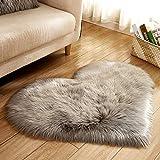 Edhua Love Heart Teppich Pads, Kunstwolle, Schaffell, Fußmatte, weich, flauschig für Schlafzimmer grau