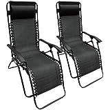 Set of 2 Black Textoline Zero Gravity Reclining Garden Sun Lounger Chairs