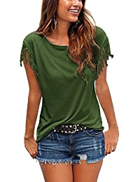 ISASSY Women's Summer Tassels Short Sleeve Loose T-Shirt Tops Casual Classic Blouse Shirts