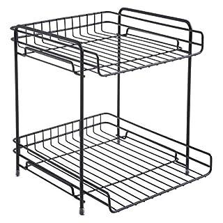 AIYoo 2 Tier Standing Storage Rack Multifunctional Iron Detachable Bookshelf Organizer Desktop Shelf Holder for Home Kitchen Bathroom Countertop Office Storage Simple Shelf