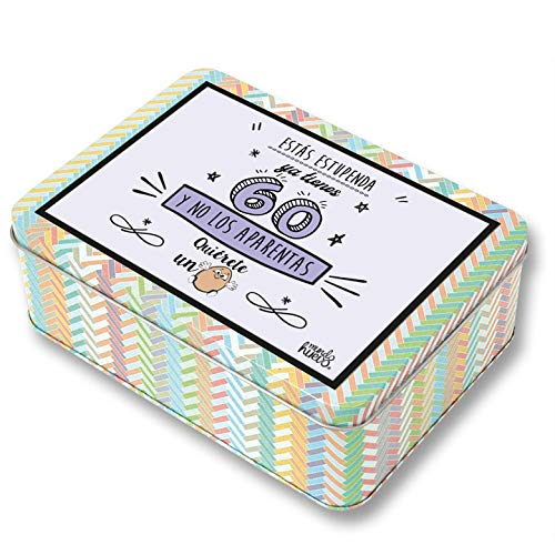 Regalo Mujer 60 años. Pack Caja metálica 18x13x6 cm, Bolsa 35x40 cm, libreta A-6 y boli. Ya Tienes 60 y no los aparentas