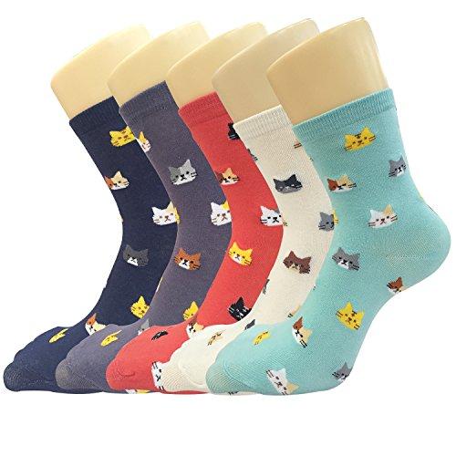Süße Damen Mädchen Socken 4/5 Paar, mit Lustiger Tiere Malerei (MIX 5) -