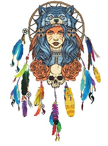 Bovake Indian Wolf-Kopfschmuck farben Mädchen-Wand-Aufkleber-Wand-dekoratives Kreative entfernbare Wand-Aufkleber Baum-entfernbare Wand-kunst