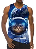 Loveternal Herren Ärmelloses T-Shirt Space Cat 3D Print Neuheit Lässig Graphic Tank Top Muskelshirt XL
