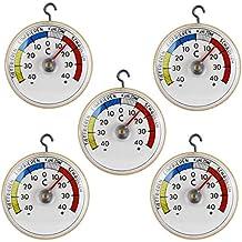 Lot de 5 lames bi-thermomètre de réfrigérateur kühlschrankthermometer à coller ou à suspendre avec crochet en métal, analogique-fabrication allemande