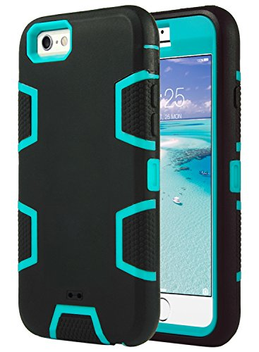 Cover per iphone 6s, ulak iphone 6 custodia cover ibrida a protezione integrale con parte esterna in 3 strati di morbido silicone e interno rigido per apple iphone 6s / 6 case (4,7 pollice) - blu + nero