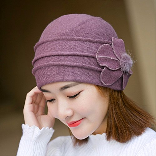 GQFGYYL Warm und Winter Strick Pullover für Warm Berets, Purple Taro Purple Pullover Beret