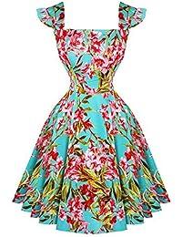 Hearts & Roses London Aqua Pink Retro Vintage 1950s Schlaghose Party Tee Sommerkleid Hervorragende Qualität