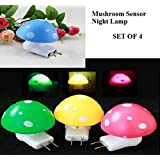Sunam'S ( Set Of 4 )Mushroom Shaped Plug & Play Energy Saving Night Lamp ( Random Color )