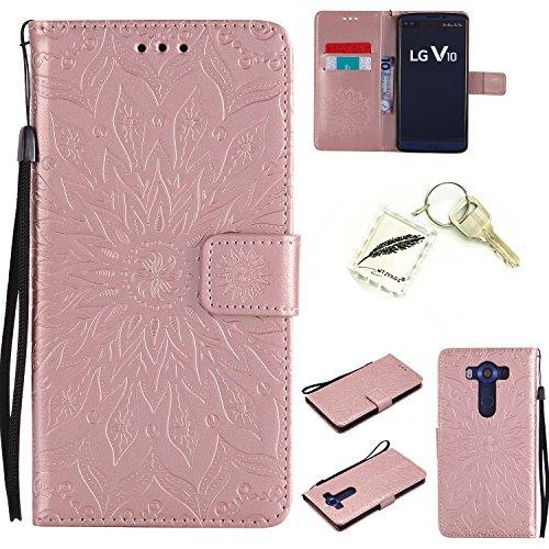 Preisvergleich Produktbild Silikonsoftshell PU Hülle für LG V10 (5,7 Zoll) Tasche Schutz Hülle Case Cover Etui Strass Schutz schutzhülle Bumper Schale Silicone case+Exquisite key chain X1) #AD (7)