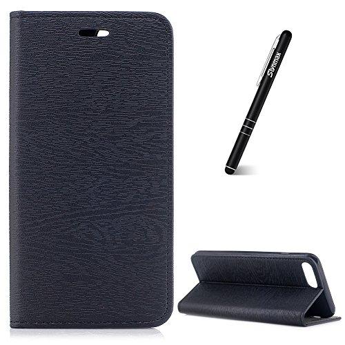 Coque iPhone 8 Plus Noir,Etui iPhone 7 Plus/8 Plus Portefeuille,Slynmax Étui en PU Cuir [Motif D'arbre] Case Porte-carte Fermoir de TPU Silicone Coque pour iPhone 7 Plus/8 Plus -Série Retro