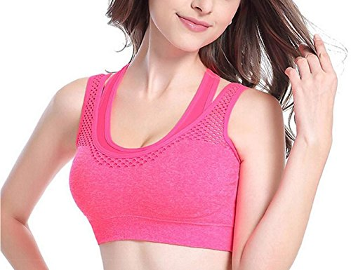 Yidarton Soutien-gorge Sport Yoga Bras Lingerie Femme Sans Armature Couture Rose Rouge