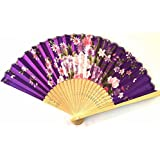 AUM- Colorful, Floral Pattern, Hand Held Folding Bamboo Japanese Silk Hand Fan (Purple-WS).100% Hand Crafted, Gift Fan For Girls, Women, Wedding Party. Buy 100% Original Imported Hand Fan From Aum Impex Only