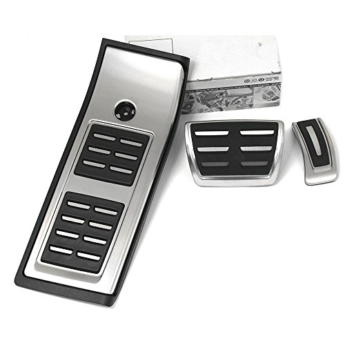Audi 80B064205A Edelstahl DSG Pedalkappen Fußstütze Interieur Automatikgetriebe (Zentrum Chrom Gebürstet,)