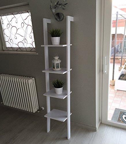 Libreria mensola scala mensola design scaffale libri a scaletta porta oggetti ideale per qualsiasi ambiente colore bianco lucido