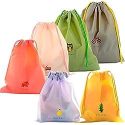 6 Pcs Bolsa de Cuerdas Impermeable, EASEHOME Saco de Deporte Bolsas Cordon de Gimnasio para Playa Viaje Natación Gymsack Infantil Bolsas de Almacenamiento Organización de Cocina
