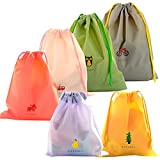 EASEHOME Waterproof Drawstring Bags, 6 Pack PE Draw String Bag Folding Storage Sack for Gym Sport Swim Travel Wash School Packing 6 Patterns 3 Sizes