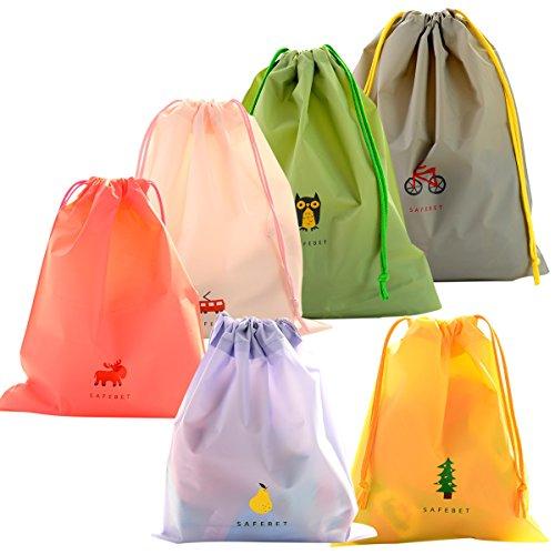 6 Pcs Borse Impermeabile Sacca da Ginnastica, EASEHOME Sacchetti Plastica Sacche Sportive per Palestra Borsa Da Viaggio Zainetto Scarpe Scuola Stoffa per Bambini Adult