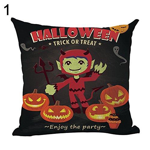 YSoutstripdu Fashion Leinen Kürbis Halloween Skelett Hexe Kissenbezug Werfen Kissenbezüge, 1#, Einheitsgröße