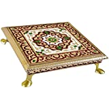 Purpledip Wooden Meenakari Chowki: Stool Stand for Home Temple, 7.5 inches (10453A)