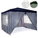 Nexos Pavillon Partyzelt 3x3m Blau Weiß Wasserdicht + 4 Seitenteile Gartenzelt Eventzelt Marktzelt Festzelt für Garten Terrasse Feier Markt als Unterstand Eventzelt
