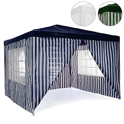 Pavillon Partyzelt 3x3m blau weiß wasserdicht + 4 Seitenteile Gartenzelt