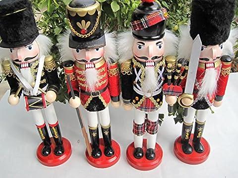 4pièces de différents design de Fabrication 30,5cm/30cm de haut, soldat Casse-Noisette, décoration de la maison, de cadeaux de Noël x4