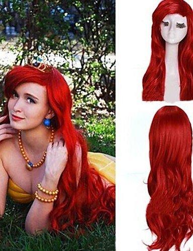 Mode Perücken WIGSTYLE dunkle rote gelockte kleine Meerjungfrau Prinzessin Ariel synthetische Perücke Frauen extra lange (Kleine Meerjungfrau Perücken)