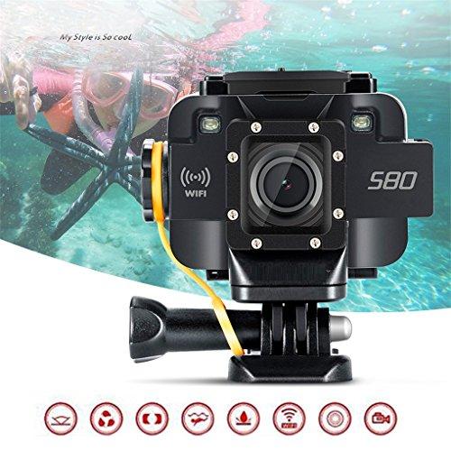 Action Camera, Wifi HD 1080 P Videocamera D'azione 1,5 'Schermo Impermeabile 20M Video Starlight Visione Notturna Supporto Microfono Sport DV Fotocamera Per Snorkeling, Bike, Sci, Sport Acquatici,Black