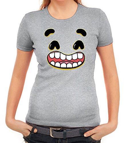 Lustiges Cartoon Emoji Damen T-Shirt mit Funny Faces - Happy 2 Motiv Graumeliert